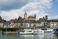 Europe, Switzerland, Rapperswil Jona waterfront and old town