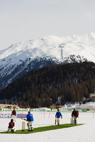 Europe, Switzerland, Graubunden, Engadine, St Moritz in winter, cricket on ice sports event 20088077874| 写真素材・ストックフォト・画像・イラスト素材|アマナイメージズ