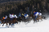 Europe, Switzerland, Graubunden, Engadine, St Moritz in winter, White Turf International Horse Race 20088077884| 写真素材・ストックフォト・画像・イラスト素材|アマナイメージズ