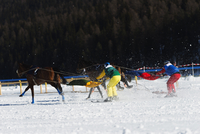 Europe, Switzerland, Graubunden, Engadine, St Moritz in winter, White Turf International Horse Race, Skijoring event 20088077891| 写真素材・ストックフォト・画像・イラスト素材|アマナイメージズ