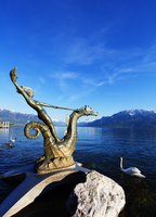 Europe, Switzerland, Vaud, Vevey, Lake Geneva (Lac Leman), sea nymph riding a sea horse