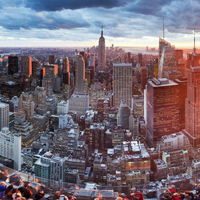 Manhattan view towards Empire State Building at sunset from Top of the Rock, at Rockefeller Plaza, New York, USA 20088090185| 写真素材・ストックフォト・画像・イラスト素材|アマナイメージズ