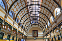Vietnam, Ho Chi Minh Province, Ho Chi Minh City, Saigon. The vaulted ceiling in the main hall of the Central Post Office in Saig