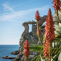 Europe, Italy, Monterosso. The sculpture Il Gigante with aloes in springtime 20088099921| 写真素材・ストックフォト・画像・イラスト素材|アマナイメージズ