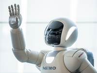 Asimo robot at the National Museum of Emerging Science and Innovation (Miraikan), Odaiba, Tokyo, Japan 20088100998| 写真素材・ストックフォト・画像・イラスト素材|アマナイメージズ