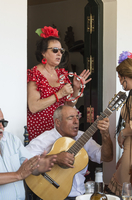 Singing flamenco in one of the Hermandades (Brotherhoods) of the village. El Rocio pilgrimage, Andalusia. Spain