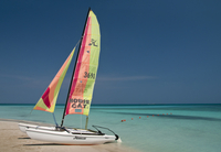 A colourful hobie cat sailing boat on a beautiful beach. 20089001314| 写真素材・ストックフォト・画像・イラスト素材|アマナイメージズ