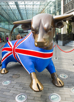 The bronze bull decorated in a Union Jack jumper at the Bullring Shopping Centre.