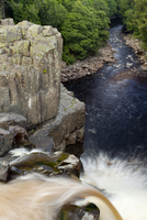 The River Tees cascading down the High Force waterfall in County Durham.