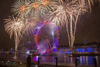 Fireworks over the London Eye during the New Years celebrations.