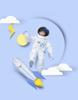 Smiling boy in an astronaut's clothes with rocket, paper illustration 20090000024| 写真素材・ストックフォト・画像・イラスト素材|アマナイメージズ