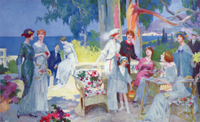 Tea Party in a garden on the French Riviera, illustration fr 22040008404| 写真素材・ストックフォト・画像・イラスト素材|アマナイメージズ
