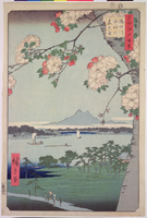 Suigin Grove and Masaki, on the Sumida River, from 'One Hundred Famous Views of Edo  22040016130| 写真素材・ストックフォト・画像・イラスト素材|アマナイメージズ