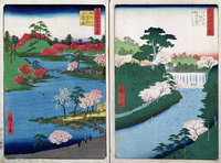 Along the riverbank, two views from '60-Odd Famous Views of the Provinces', pub. by Kosheihei in 1853,  22040023988| 写真素材・ストックフォト・画像・イラスト素材|アマナイメージズ