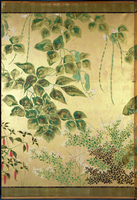 Flowers of the Seasons, c.1800 (screen panel, ink and colour on gold background) 22040033485| 写真素材・ストックフォト・画像・イラスト素材|アマナイメージズ