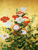 Flowers of the Seasons, c.1800 (screen panel, ink and colour on gold background) 22040033486| 写真素材・ストックフォト・画像・イラスト素材|アマナイメージズ
