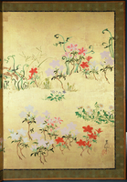 Flowers of the seasons, c.1800 (screen panel, ink and colour on gold background) 22040033487| 写真素材・ストックフォト・画像・イラスト素材|アマナイメージズ