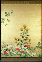 Flowers of the Seasons, c.1800 (screen panel, ink and colour on gold background) 22040033488| 写真素材・ストックフォト・画像・イラスト素材|アマナイメージズ
