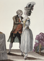 A tailor trying out a fashionable corset on a lady, plate fr 22040055456| 写真素材・ストックフォト・画像・イラスト素材|アマナイメージズ