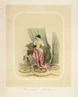 An elegant lady at her dressing table, printed by F. Sala & 22040070024| 写真素材・ストックフォト・画像・イラスト素材|アマナイメージズ