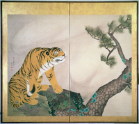 Tiger Screen, Japanese, 1781 (ink, colour and gold on paper) 22040072642| 写真素材・ストックフォト・画像・イラスト素材|アマナイメージズ