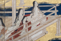 Detail of Spring in the Palace, six-fold screen from 'The Tale of Genji', c.1650 (ink, colours & gold on paper) 22040073041| 写真素材・ストックフォト・画像・イラスト素材|アマナイメージズ
