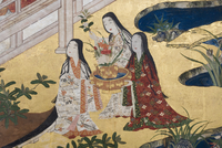 Detail of Spring in the Palace, six-fold screen from 'The Tale of Genji', c.1650 (ink, colours & gold on paper) 22040073042| 写真素材・ストックフォト・画像・イラスト素材|アマナイメージズ