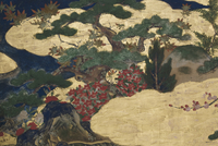 Detail of Spring in the Palace, six-fold screen from 'The Tale of Genji', c.1650 (ink, colours & gold on paper) 22040073046| 写真素材・ストックフォト・画像・イラスト素材|アマナイメージズ