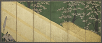 Cherry blossoms, a high fence and retainers, Edo period, 1590-1640 (colour & gold on paper) 22040081902| 写真素材・ストックフォト・画像・イラスト素材|アマナイメージズ