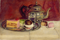 Still Life with Cakes and a Silver Teapot 22040154702| 写真素材・ストックフォト・画像・イラスト素材|アマナイメージズ