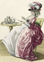 Elegant Woman in a Dress 'a l'Anglaise' Drinking Coffee, pla 22040193161| 写真素材・ストックフォト・画像・イラスト素材|アマナイメージズ