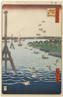 View of Shiba Coast, No. 108 from 'One Hundred Famous Views of Edo', 1856  22040196486| 写真素材・ストックフォト・画像・イラスト素材|アマナイメージズ