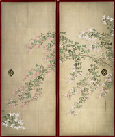 Moon with Hagi, one of a pair of sliding doors, Late Edo Period (w/c on silk) (see 226741 for pair) 22040199512| 写真素材・ストックフォト・画像・イラスト素材|アマナイメージズ