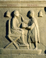 Relief depicting an oculist examining a patient 22040220719| 写真素材・ストックフォト・画像・イラスト素材|アマナイメージズ