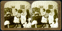 Stereoscopic card depicting a woman being laced into a corse 22040242678| 写真素材・ストックフォト・画像・イラスト素材|アマナイメージズ