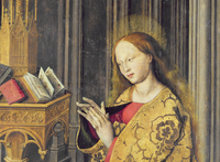 The Virgin Mary reading from a book of Hours, c.1445 (oil on 22040242776| 写真素材・ストックフォト・画像・イラスト素材|アマナイメージズ