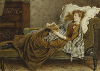 A Young Lady Reading in an Interior, (pencil and watercolour 22040243083| 写真素材・ストックフォト・画像・イラスト素材|アマナイメージズ