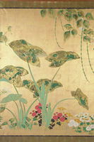Flowers of the Seasons, c.1800 (screen panel, ink and colour on gold background) 22040245464| 写真素材・ストックフォト・画像・イラスト素材|アマナイメージズ