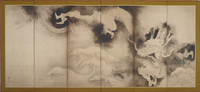 Dragons and Clouds, Edo Period (ink & pink tint on paper) 22040245472| 写真素材・ストックフォト・画像・イラスト素材|アマナイメージズ