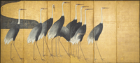 Six-panel screen depicting Cranes, Edo Period (ink, colour, gold & silver on paper) 22040245473| 写真素材・ストックフォト・画像・イラスト素材|アマナイメージズ
