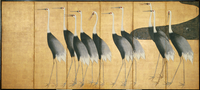 Six-panel screen depicting Cranes, Edo Period (ink, colour, gold & silver on paper) 22040245474| 写真素材・ストックフォト・画像・イラスト素材|アマナイメージズ