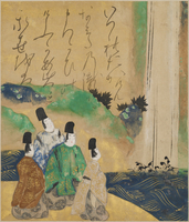 Nobles Viewing the Nunobiki Waterfall, c.1643 (ink & colour on paper) 22040245476| 写真素材・ストックフォト・画像・イラスト素材|アマナイメージズ