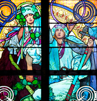 Window depicting an allegory of Christ blessing the Slavic nations, 1930 (stained glass) (see also 491876-77) 22040249579| 写真素材・ストックフォト・画像・イラスト素材|アマナイメージズ