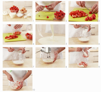 Strawberries with cream being prepared for a cake filling 22199075360| 写真素材・ストックフォト・画像・イラスト素材|アマナイメージズ