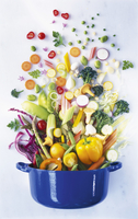 Various types of vegetables falling into a pot 22199075776| 写真素材・ストックフォト・画像・イラスト素材|アマナイメージズ
