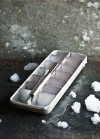 An empty ice cube tray and individual ice cubes 22199079175| 写真素材・ストックフォト・画像・イラスト素材|アマナイメージズ