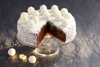 Chocolate cake with grated coconut and coconut truffles 22199081549| 写真素材・ストックフォト・画像・イラスト素材|アマナイメージズ