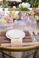 A table laid for a summer garden party 22199082189| 写真素材・ストックフォト・画像・イラスト素材|アマナイメージズ