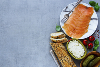 Fresh ingredients for making healthy sandwich. Baguette, smoked salmon, creamcheese, pickles and basil 22199082806| 写真素材・ストックフォト・画像・イラスト素材|アマナイメージズ