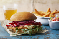 A chicken burger with chips and salad 22199082971| 写真素材・ストックフォト・画像・イラスト素材|アマナイメージズ